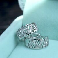 18k white gold gf made with Swarovski crystal huggies filigree wave earrings