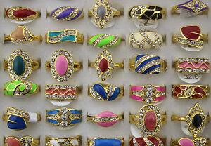 Wholesale Mixed lots 30pcs Rhinestone Colorful Enamel Women's colorful rings R03