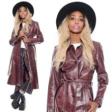 Vtg Brown LEATHER Hippie Boho Spy Skinny Fit Mod 70s Style Trench Coat Jacket M