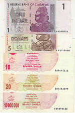 2007-08 Zimbabwe 1,5,10,20&10 Million Dollars ~ UNC to XF+ {with  bearer cheque}