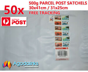50x 500g Australia Parcel Post Satchel Prepaid $9.15 with Tracking 30x41 / 31x25