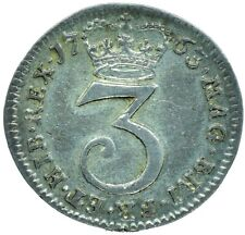 More details for 1763 silver maundy threepence / great britain king george iii / collectible