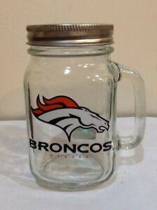 DENVER BRONCS NFL BALL MASON JAR WITH HANDLE & LID