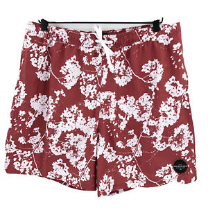 """Quicksilver Men's Hawaiian Floral 18"""" Volley Shorts Size XL NWT Red and White"""