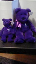 TWO..TY Beanie Babies Princess Diana Bears Rare 1st Edition PVC Pellet MINT !!!
