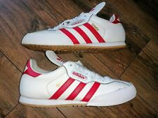 Mens Adidas Super Samba Trainers Originals Leather in Size UK 10 White / Red.