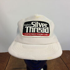 Rare Vintage 80s Bagleys Silver Thread Fishing Line Trucker Snapback Hat Cap