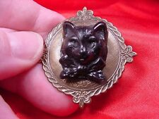 (CS28-3) KITTY black cat kitten with bow CAMEO round Pin Pendant Jewelry brooch