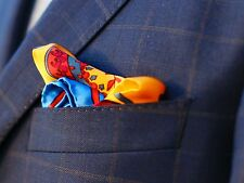 BNWT Fashion Necessity Silk Paisley Pocket Square Handkerchief Blue Orange