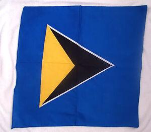 "ST LUCIA  FLAG BANDANA GOLD BLACK BLUE SCARF COTTON Approx 18""  X 19"""
