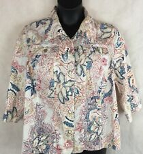 Napa Valley Size 1X Floral Shirt Jacket 3/4 Sleeve Chest Pockets