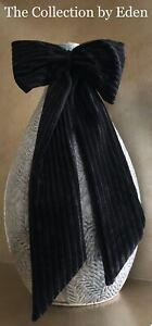 INC International Concepts Hair Accessory- Black Ribbed Velvet Bow Hair Band Tie