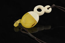 Exclusive Handmade Baltic Amber Sea & Carved Deer Horn Pendant 13.1g p150720-2