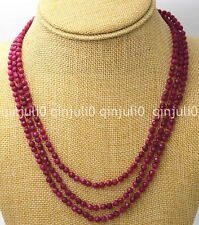 NATURAL 3 ROWS 4MM FACETED BRAZIL RUBY RED ROUND BEADS NECKLACE 17-19'' JN693