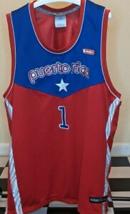 VINTAGE AWSOME RARE AND1 BLUE/RED PUERTO RICO BASKETBALL #1 JERSEY XL