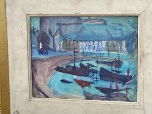 tableau Jacques SIMON REIMS1890-1974 Saint Servan Saint Malo 1954 Bretagne