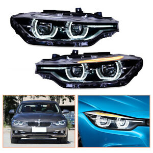 For BMW 3 Series F30 Headlamps 12-16 HID Projector LED DRL Replace OEM Halogen