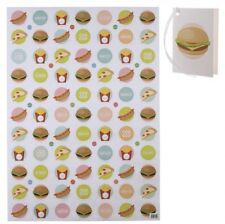 Two Sheets Of Fast Food Themed  WRAPPING Hot Dogs PAPER GIFT WRAP SHEET And Tags
