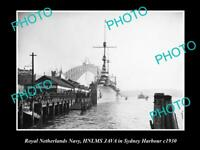 OLD 8x6 HISTORIC PHOTO OF ROYAL DUTCH NAVY SHIP HNLMS JAVA IN SYDNEY c1930