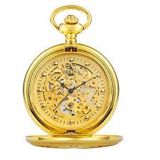 Steampunk Dial Windup Gift Gold Mens Hollow Skeleton Pocket Watch Mechanical