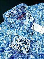 Robert Graham Paisley Medallion Print Blue White Sport Shirt $199