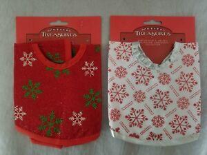 Miniature Tree Skirt 12 in. Red w/Snow Flakes  &  White w/Snow Flakes & More