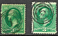 """Fancy Cancel """"Number 4-5"""" SON 3 Cent Green Washington Banknote 1871-83 US 13B66"""