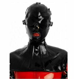 Latex Rubber Full Head Hoods Neck Corset Lace Up Halskorsett Customized 0.6mm