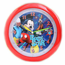 "Wall Clock 10"" Quartz Disney Mickey Mouse & Goofy Red Children NIP"