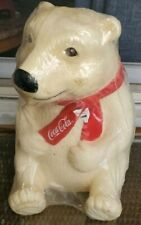 Vintage COCA COLA POLAR BEAR Piggy Bank Collectible BEIGE The Snack Factory 1995