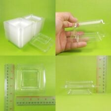 "100 x Transparent Food Container Plastic Disposable Box Packaging Bakery 3"" x 3"""