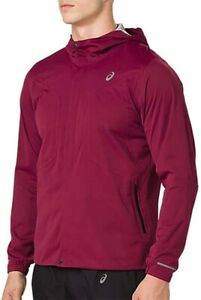 Asics Accelerate Mens Running Jacket Red Breathable Waterproof Windproof 120g