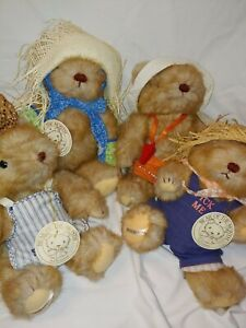 VNT 1983 Gorham Teddy Bear Of The Month Lot Rare May, June, Oct. And Nov.W/ tags