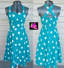 70s Rockabilly polka dot Turquoise dress Sun 32 34 S Pin Up Sock Hop Union Made