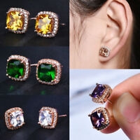 Women Jewelry Rose Gold Princess Cut Champagne Topaz Stud Square Earrings Hot