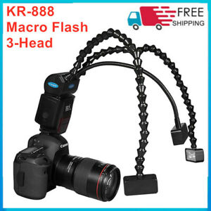 KR-888 Macro Flash 3Pcs Flash Light Head LED Speedlite Universal for Camera DSLR