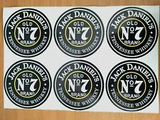 BIG SIZE-6PCS-STICKERS JACK DANIELS  N7 OLD BRAND  ROUND- 100mm- NEW!!!