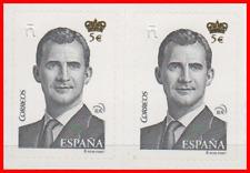 ESPAÑA 2 SELLOS NUEVOS AUTOADHESIVOS 5 EUROS (10 EUROS FACIAL) BAJO FACIAL