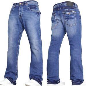 MENS JEANS BOOTCUT FLARED DESIGNER WIDE LEG DENIM JEANS ALL WAIST & SIZES