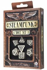 Q-Workshop Steampunk RPG Dice Set (7 Polyhedral) Beige & Black SSTE18