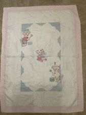 New listing Vintage Hand Quilted AppliquÉD Baby Quilt -51� X 38�