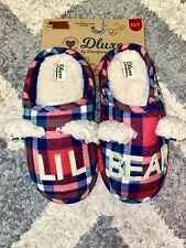 Dluxe by Dearforms Lil Bear Plaid Flannel Fleece Clog Slippers Kids 13/1- Nwt