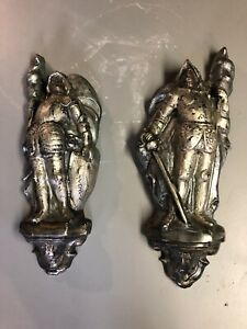 (2) Vintage Kight In Armor Plaster Wall Sculptures/statue Each 22x9 Inches
