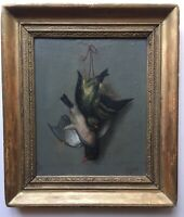 Antique Oil French classic painting 19th century still life with birds partridge