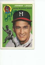 JOHNNY LOGAN Autographed Signed 1994 1954 Topps Archives card Milwaukee Braves