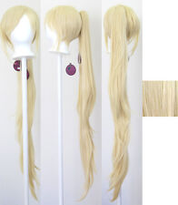 40'' Wavy Pony Tail + Base Flaxen Blonde Cosplay Wig NEW