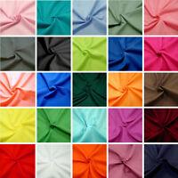 Plain Polycotton Fabric Coloured Solid 60 Colours Dress Craft 112cm Wide