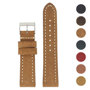 StrapsCo 22mm Vintage Leather Smart Watch Band Strap (Short, Standard, Long)