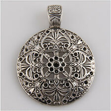 3Pcs Tibetan Silver Flower Round Bail Charms Pendants Fit Bracelet Necklace