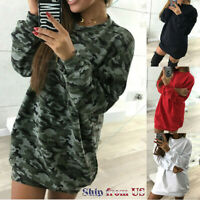 Women's Oversize Sweatshirt Mini Tank Dress Long Sleeve Sweater Casual Top Shirt